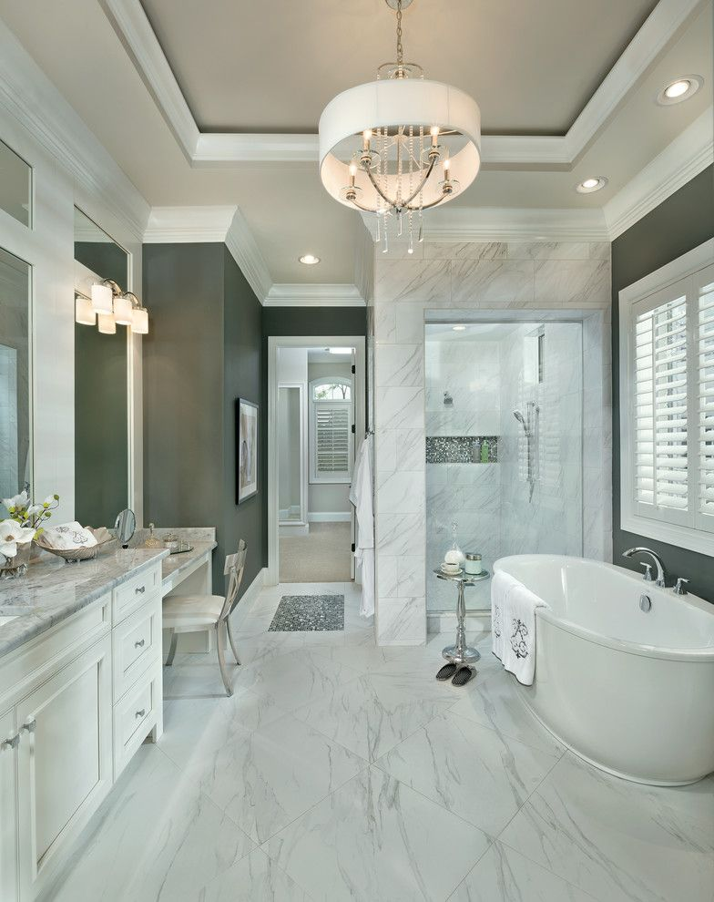Drum Chandelier in Bathrooms for Transitional Bathroom and Carerra
