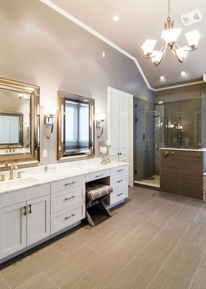 Drum Chandelier in Bathrooms for Transitional Bathroom and Gray Tile