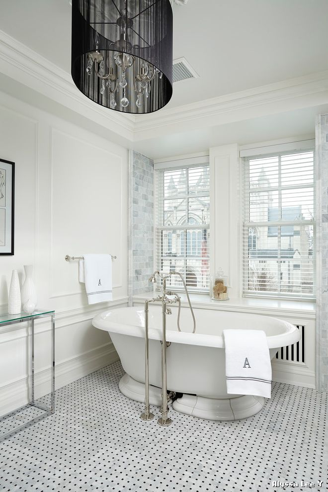 Drum Chandelier in Bathrooms for Victorian Bathroom and Floor Mounted Tub Filler