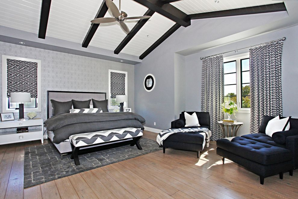 Dunn Edwards Bedroom  for Contemporary Bedroom and Gray Wallpaper