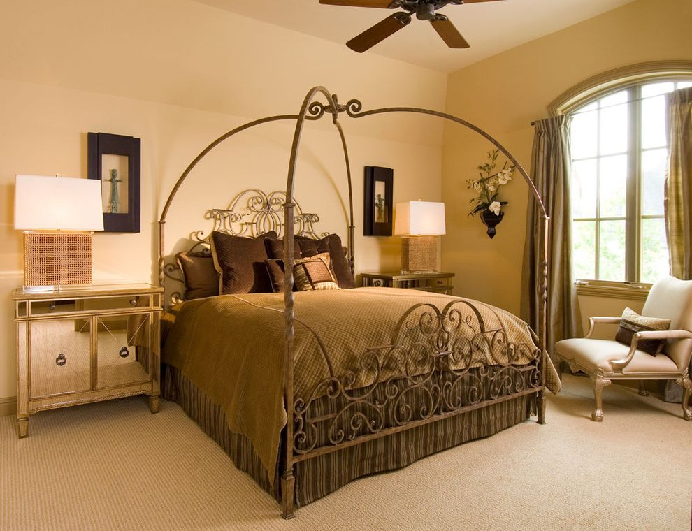 Dunn Edwards Bedroom  for Traditional Bedroom and Iron Bed
