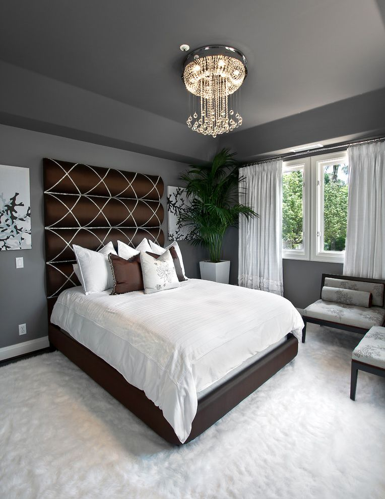 Dunn Edwards Bedroom  for Transitional Bedroom and Brown Bed