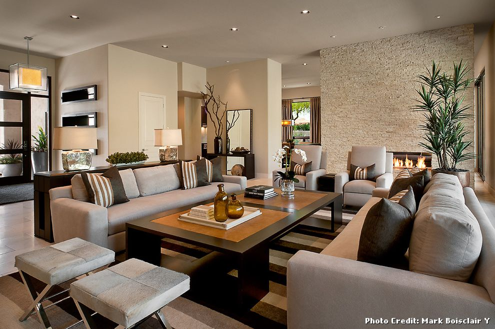 Dunn Edwards Dining Room  for Contemporary Living Room and Modern Fireplace
