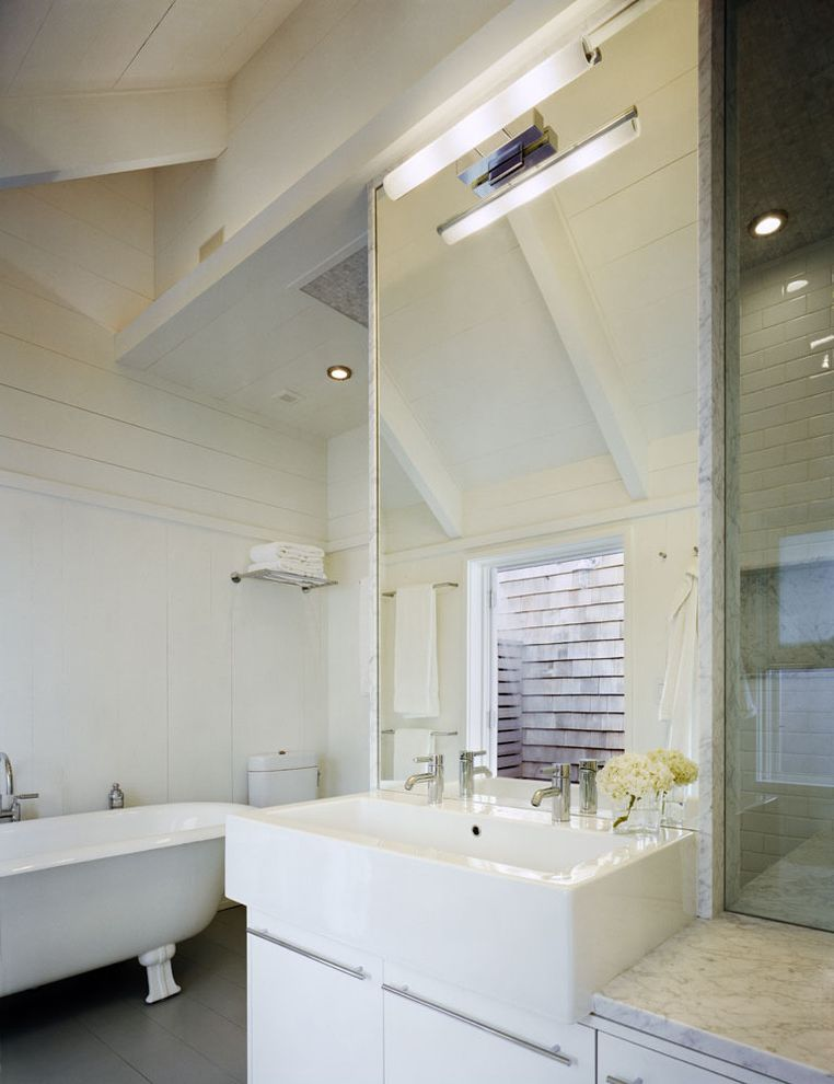 Farmhouse Sink Bathroom  for Beach Style Bathroom and Vaulted Ceilings