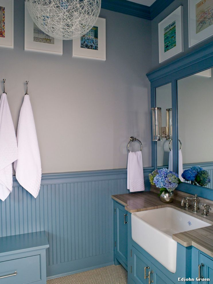 Farmhouse Sink Bathroom  for Traditional Bathroom and Sconce Lighting