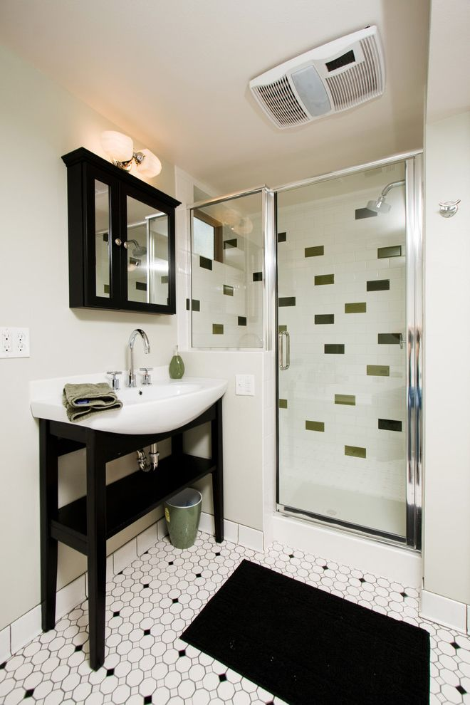 Hall Printed Floor Tiles Designs  for Contemporary Bathroom and Bathroom Mirror