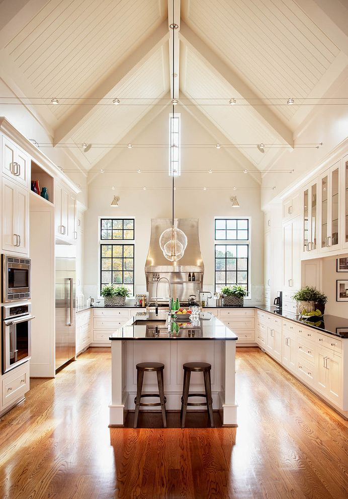 Kitchens with 12 Foot Ceilings for Traditional Kitchen and Glass Front Cabinets