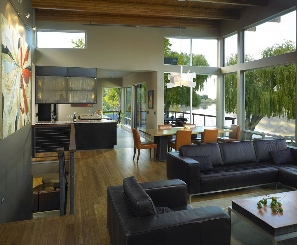 Kitchens with Clerestory Windows  for Contemporary Living Room and Roof Line