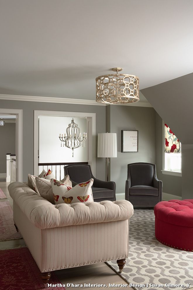 Martha Ohara Interiors Powder Room  for Traditional Family Room and Sofa