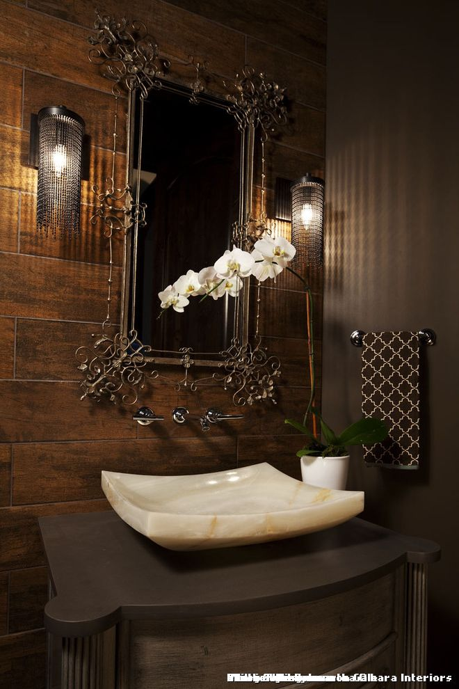 Martha Ohara Interiors Powder Room  for Transitional Bathroom and Washstand