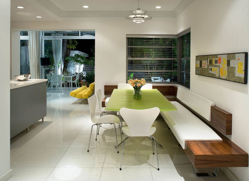 Modern Banquette Seating  for Midcentury Kitchen and Built in Wood Bench