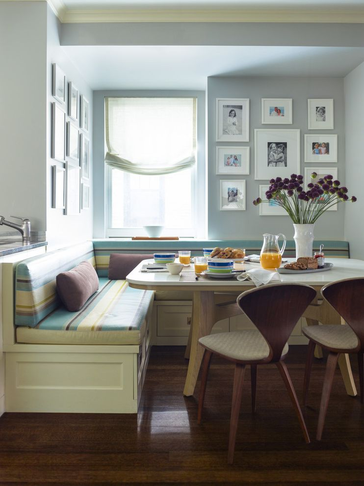 Modern Banquette Seating  for Traditional Dining Room and Striped Banquette