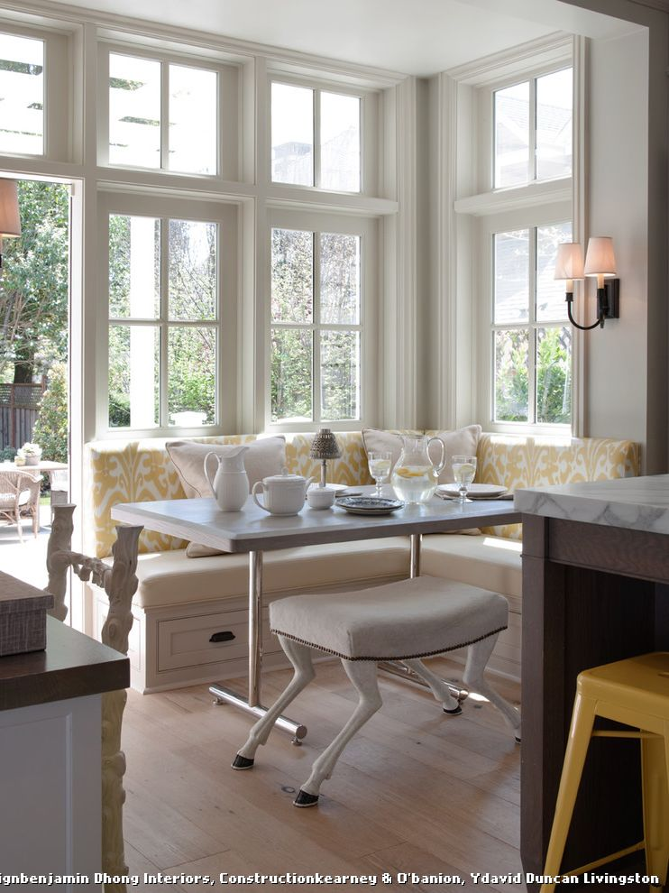 Modern Banquette Seating  for Traditional Kitchen and Yellow Ikat