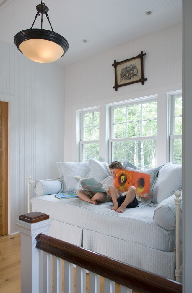 Modern Daybed with Trundle  for Traditional Kids and White and Dark Wood Railing