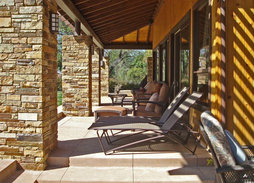 Modern Stone Veneer  for Contemporary Patio and Wood Siding