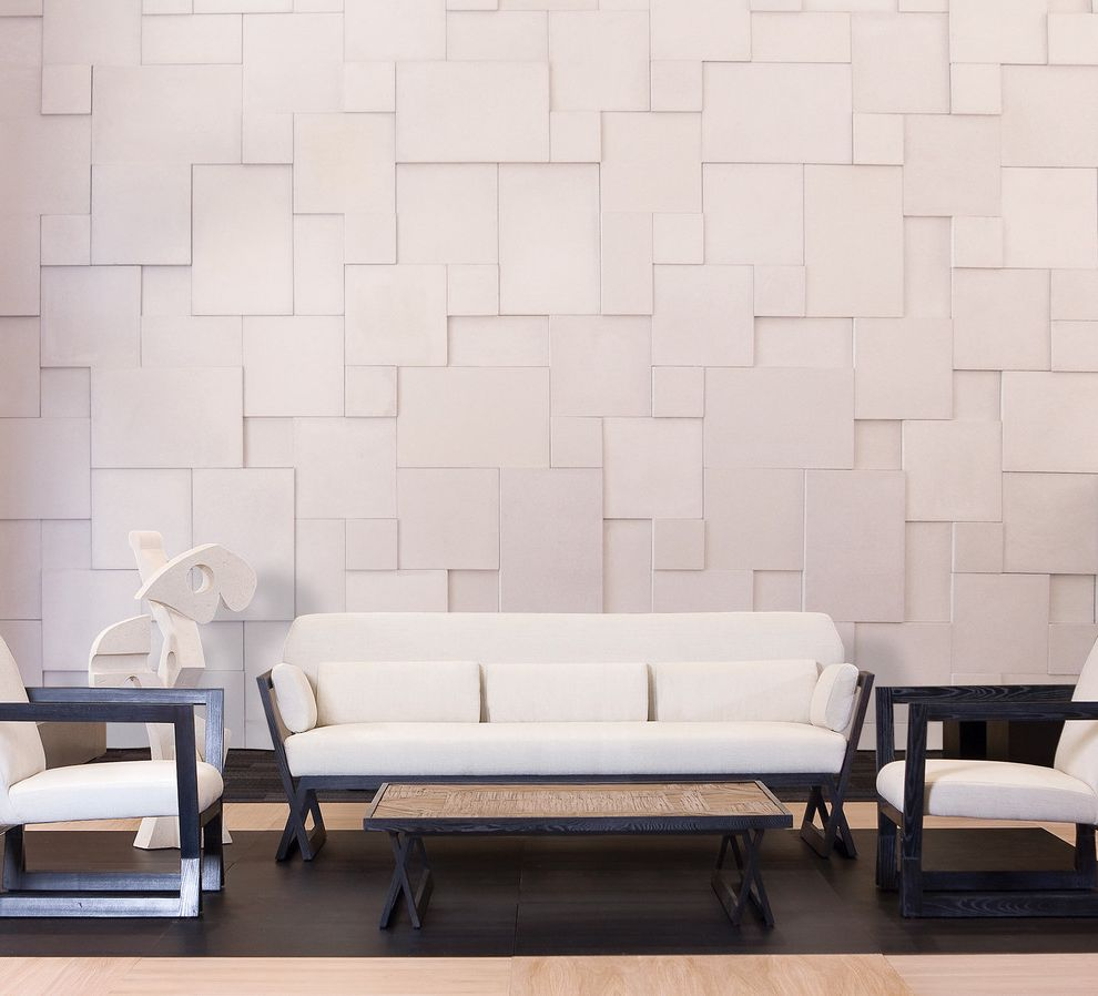 Modern Stone Veneer  for Modern Family Room and Wood Floor