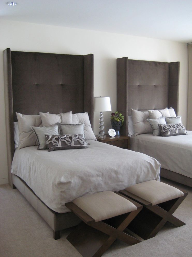Ms Bed  for Transitional Bedroom and Nightstand