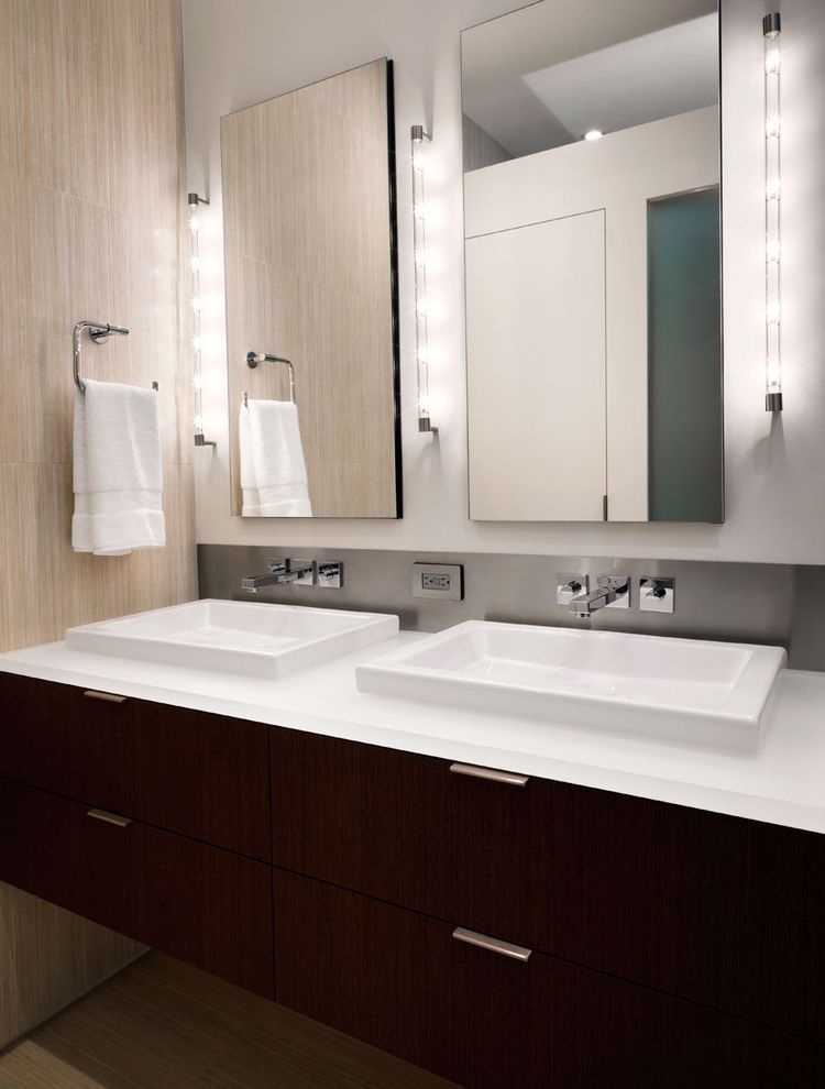 Puck Lighting for Makeup  for Contemporary Bathroom and Square Sinks