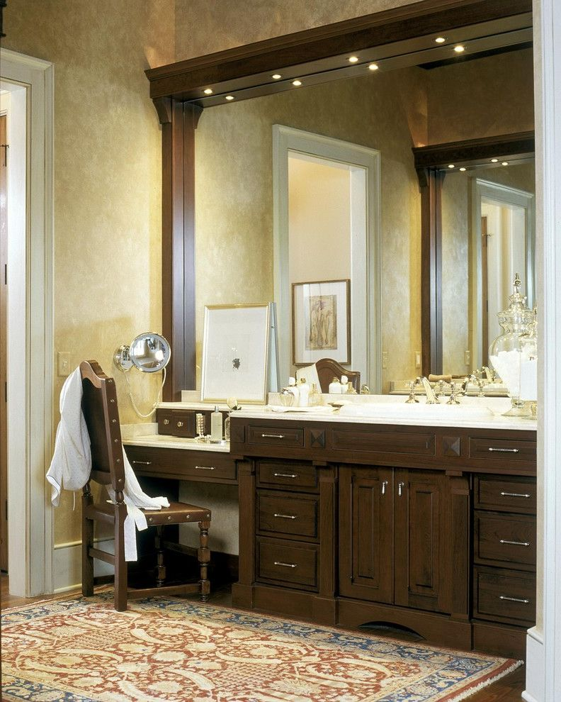 Puck Lighting for Makeup  for Traditional Bathroom and Oriental Rug