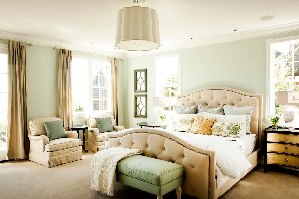 Sherwin Williams Sw 6378 Crisp Linen for Traditional Bedroom and Light Green Walls