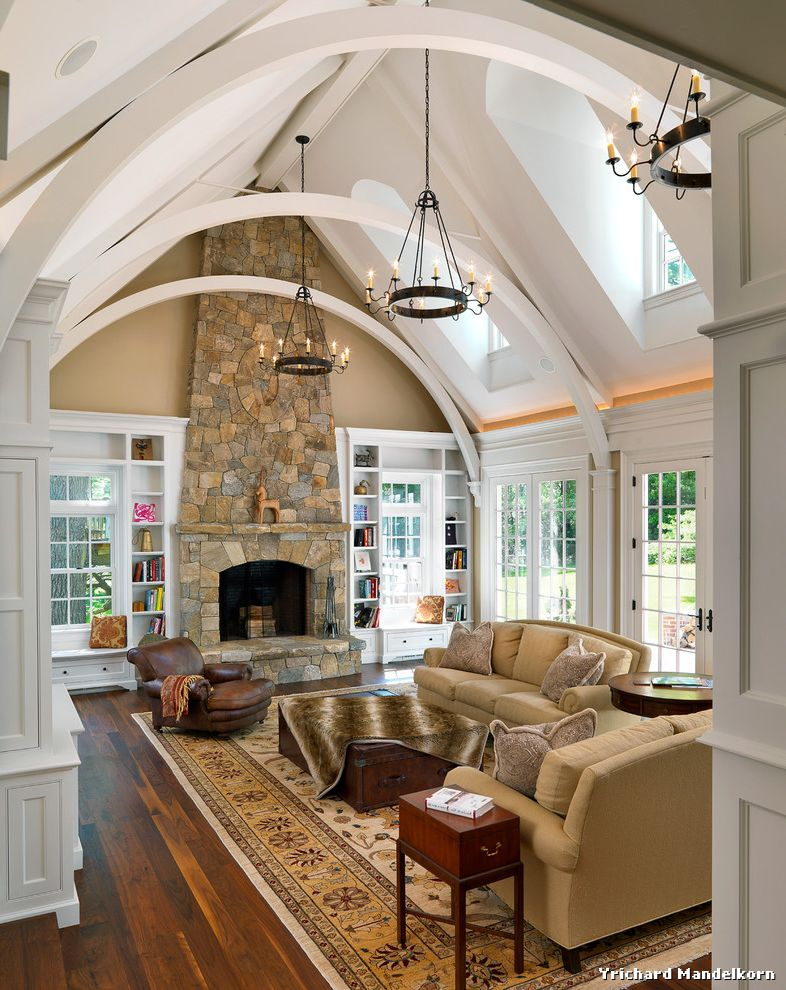 Stackable Stone Fireplace with Built Ins on Each Side  for Traditional Family Room and Stone Fireplace