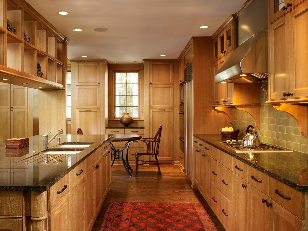 Types of Cabinets That Go with Delicatus Granite with Black Lines for Contemporary Kitchen and Wood Flooring