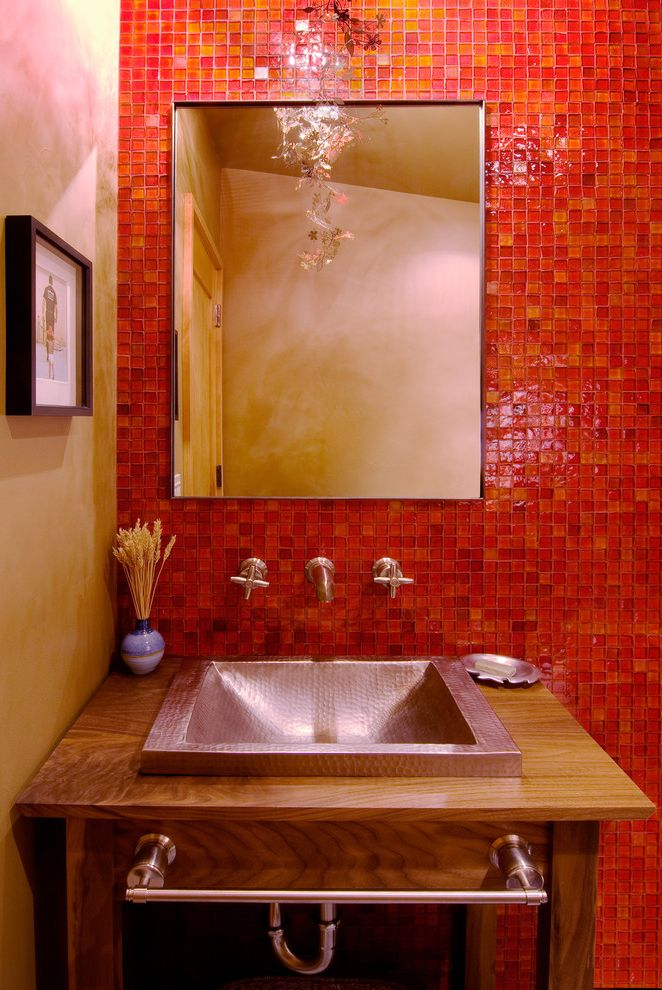 What Colour Were Victorian Bathroom Tiles  for Contemporary Powder Room and Bold Colors