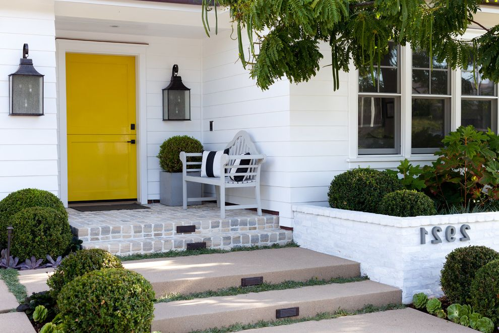 Whitewash Brick Exterior Traditional  for Traditional Entry and Planting Beds