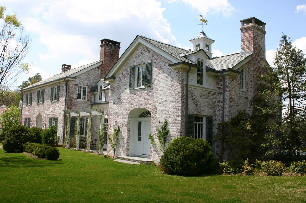 Whitewash Brick Exterior Traditional  for Traditional Exterior and Ivy