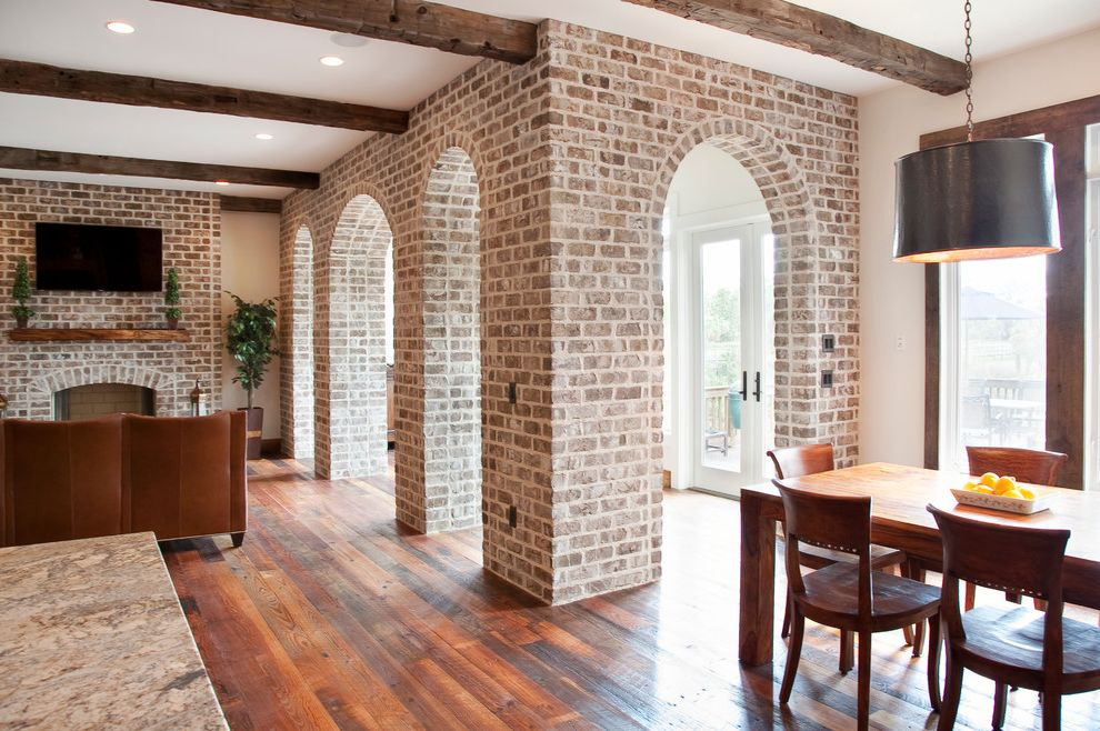 Whitewash Brick Exterior Traditional  for Traditional Living Room and Wall Mounted Tv