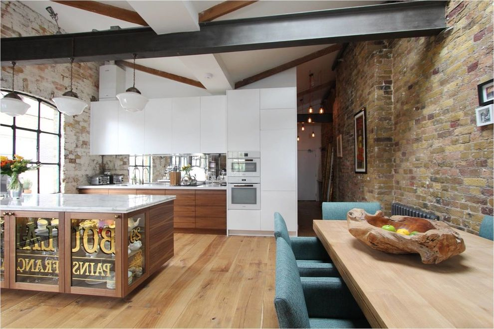 Wooden Roof Industrial Kitchen  for Industrial Kitchen and Exposed Brickwork