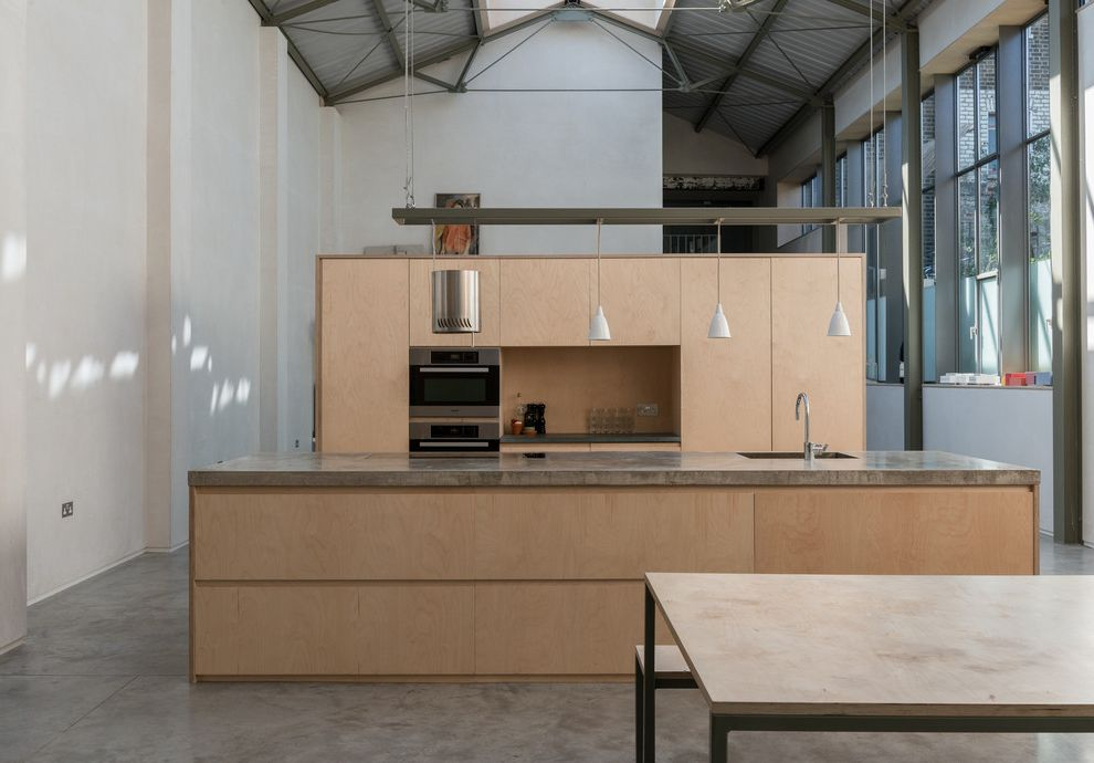 Wooden Roof Industrial Kitchen  for Industrial Kitchen and White Pendants