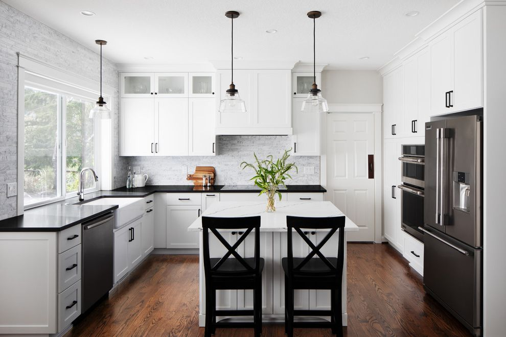 Black and White Kitchen   Hillsboro Black and White Kitchen for Contemporary Kitchen Kitchen Photos Wood Trim Baseboards Contemporary