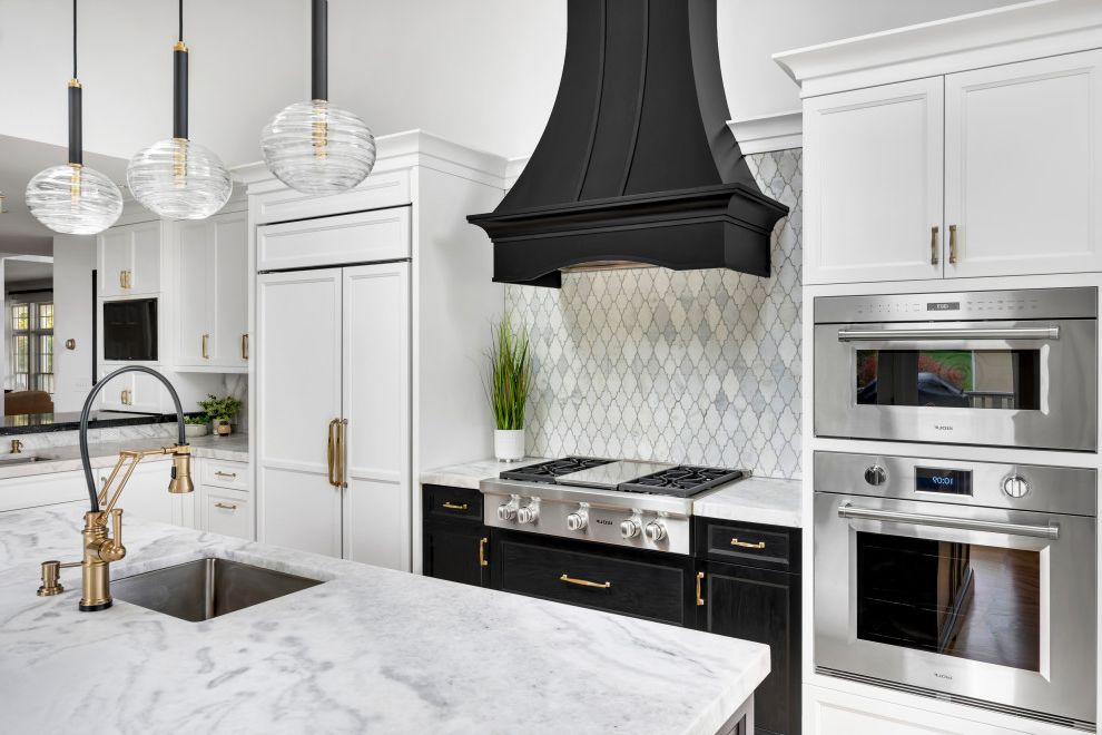 Black & White Kitchen with Accents of Gold Black and White Kitchen for Transitional Kitchen Kitchen Photos Large Kitchens