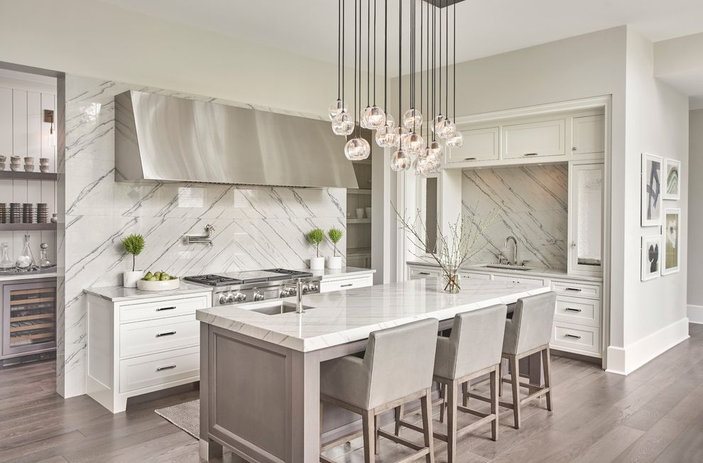 Clean-Lined, Transitional Kitchen in White & Grey What Color Should I Paint My Kitchen for Transitional Kitchen Kitchen Photos Stone Cleaners