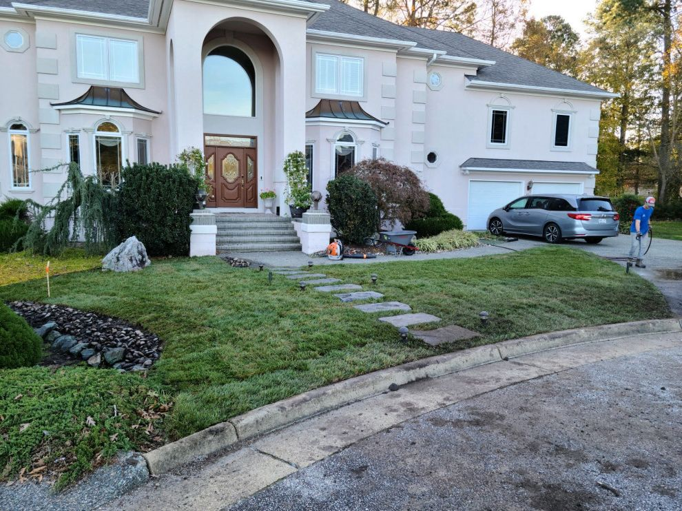 Curb Appeal Sod and Walkway Curb Appeal Before and After for Contemporary Landscape Outdoor Photos Green Landscapes