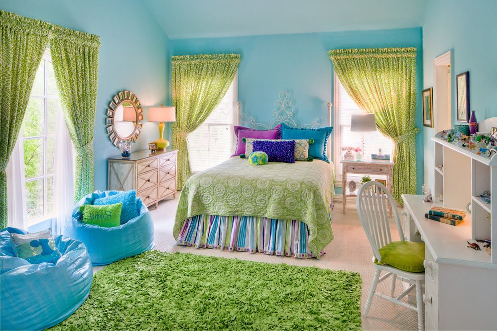 Girl's Bedroom Love It or List It for Traditional Kids Baby & Kids Turquoise Kids Rooms
