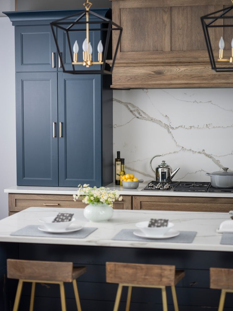 Hickory & Blue Modern Farmhouse Kitchen with Blue Kitchen Island Kitchen Color Trends 2017 for Farmhouse Kitchen Kitchen Photos Gray Kitchens