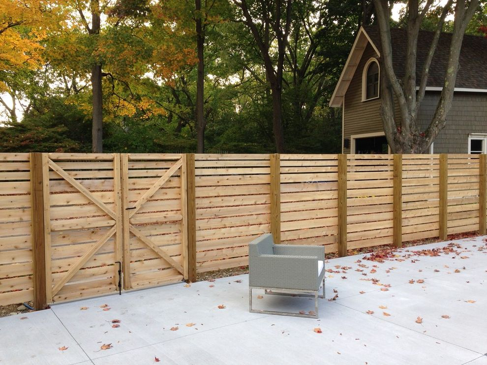Horizontal Boards Cedar Fences How to Paint a Fence for Modern Landscape Outdoor Photos Roofers and Gutter Installers