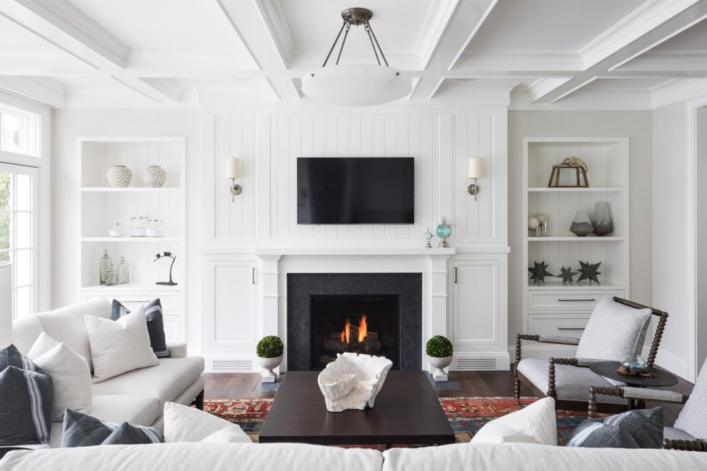 Minnetonka Beach House | Custom Home How to Paint Over Paneling for Beach Style Family Room Living Photos Home Window Contractors