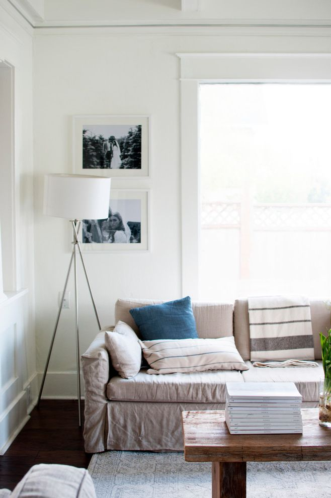 My Houzz: Soothing Blues and Organic Style in a 1912 Fixer-Upper Fixer Upper Living Rooms for Transitional Living Room Living Photos Custom Curtains Drapes and Blinds