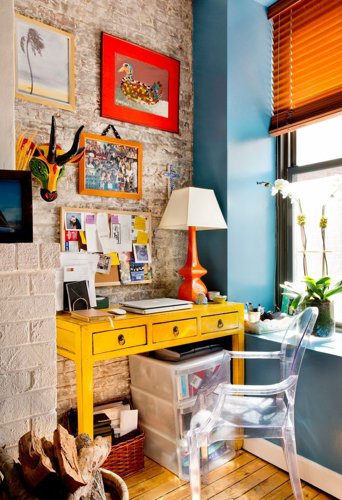 My Houzz: Vibrant Palette in a West Village Apartment Colors That Go with Orange for Eclectic Home Office Home Office Photos Interior Designers and Decorators