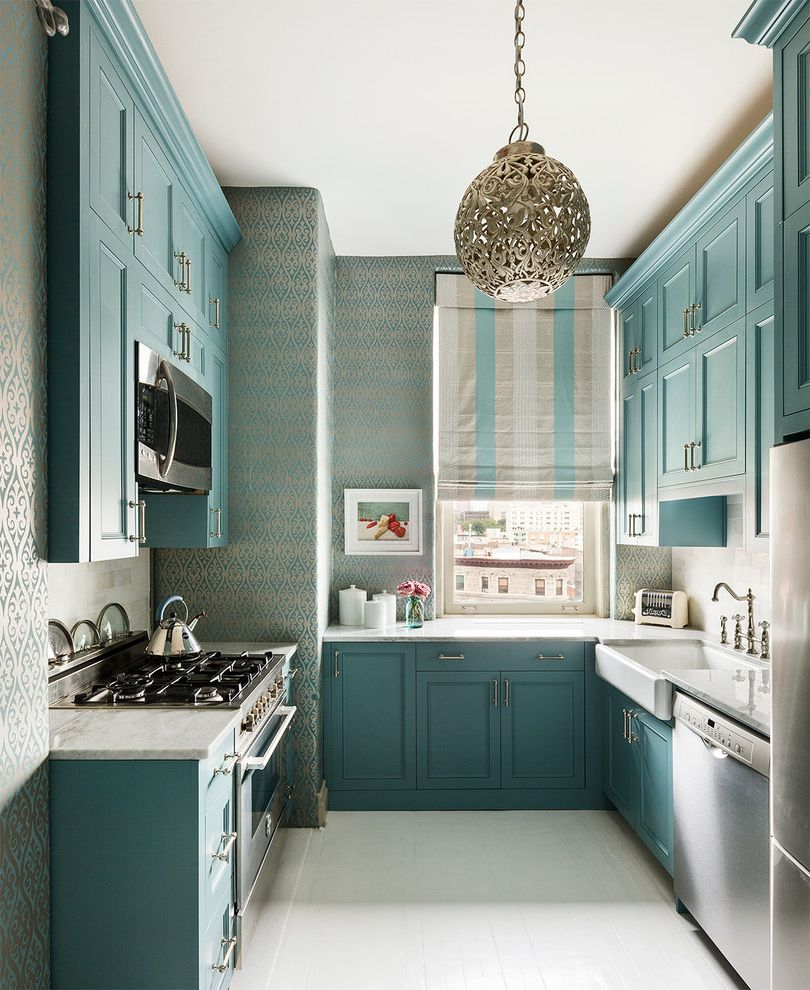 New York Residence How to Remove Wallpaper with Fabric Softener for Transitional Kitchen Kitchen Photos Tile and Countertop Contractors