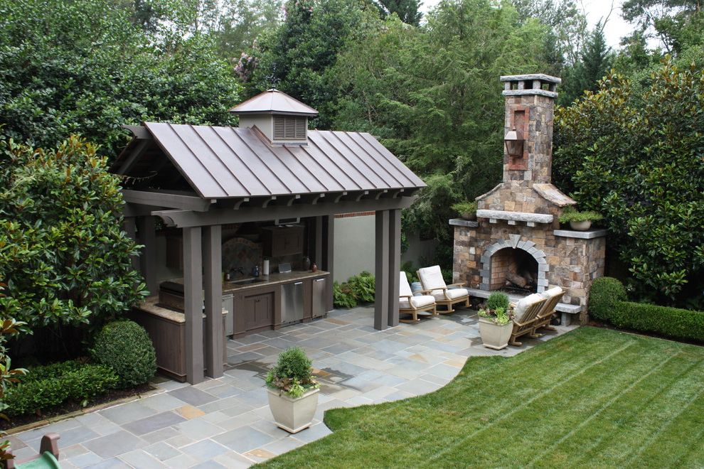 Outdoor Kitchen and Fireplace Birthday Party Food Ideas for Traditional Patio Outdoor Photos Minimalist Patio Ideas