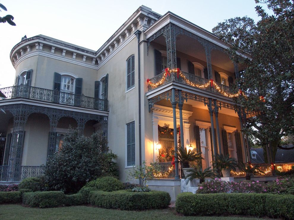 Photo Tour: New Orleans Spreads Its Cheer with Festive Decor Property Brothers New Orleans for Eclectic Exterior Exterior Photos Classic Roman Architecture Exterior Ideas
