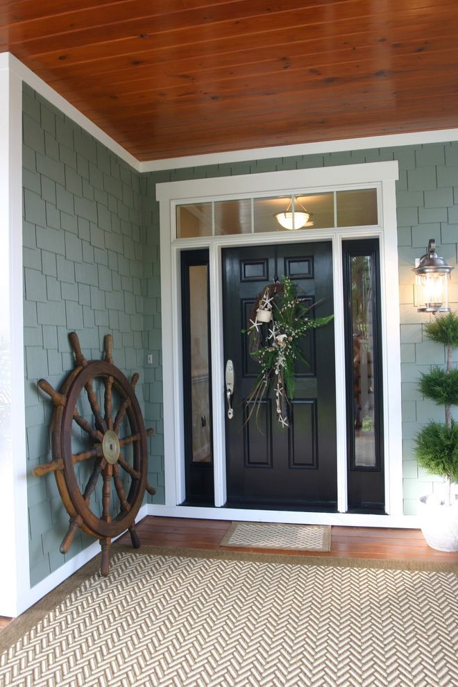 River Cottage #3 How to Paint a Front Door for Traditional Entry Entry Photos Custom Curtains Drapes and Blinds