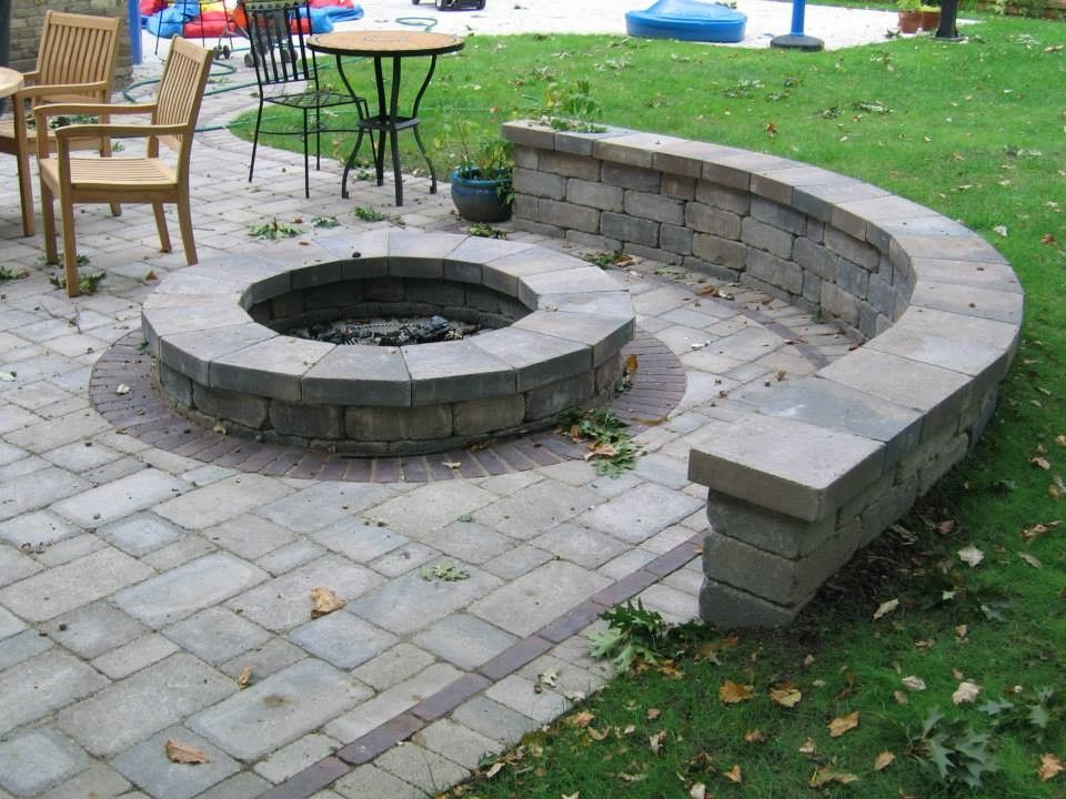 Round Block Fire PIt Cinder Block Fire Pit for Traditional Landscape Outdoor Photos Landscapes