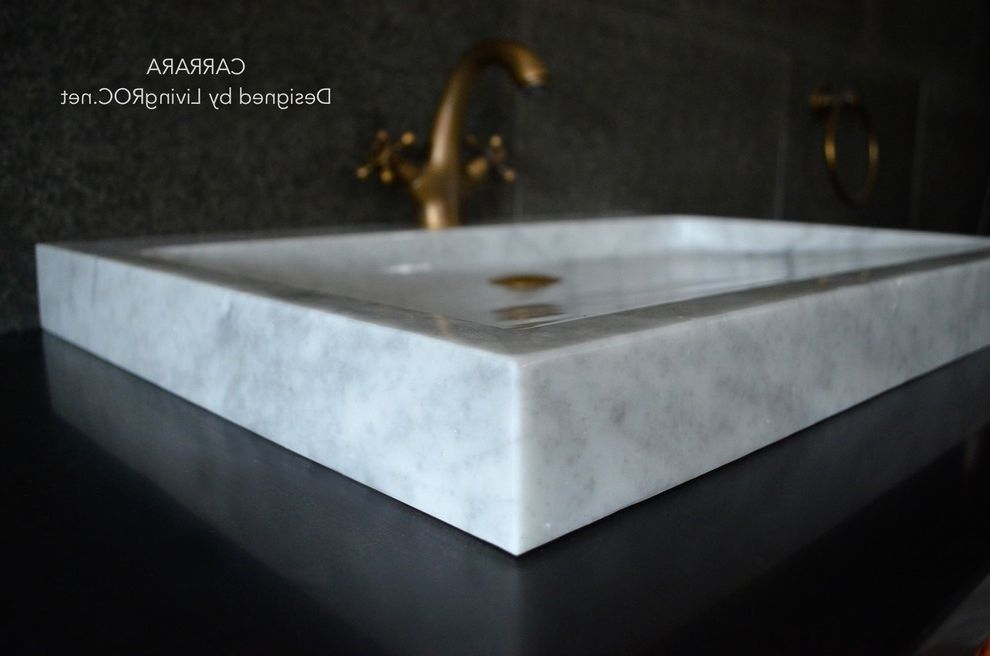 TROUGH SINK CARRARA WHITE MARBLE 27-INCH VESSEL SINK for BATHROOM - CARRARA How to Add Value to Your Home for Craftsman Bathroom Bath Photos Overflow