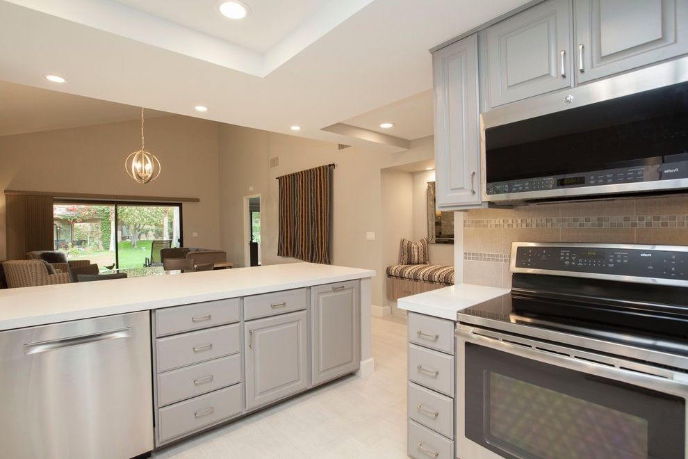 Uncluttered Condo B&a   Palm Desert, Ca How to Replace Fluorescent Light Fixture for Transitional Kitchen Kitchen Photos Beige Kitchens
