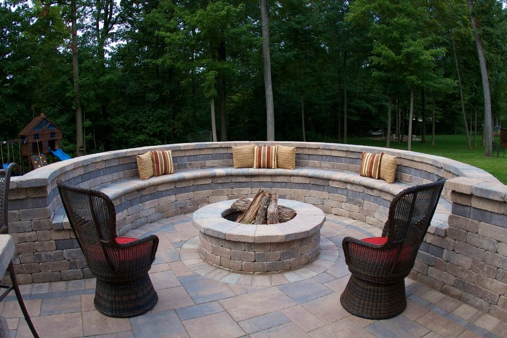 Westerville, Ohio Outdoor Living Area Cinder Block Fire Pit for Traditional Patio Outdoor Photos Bluestone Patio